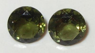 1.38ct Pair Faceted TOP QUALITY Natural Czechoslovakia Moldavite Round Cut 6mm