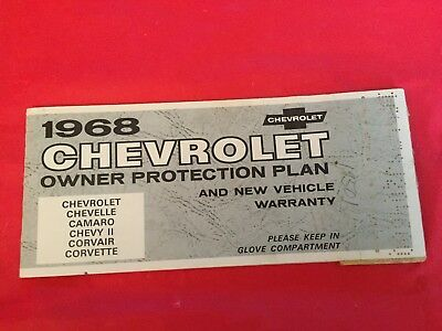 "1968 Chevrolet ""Corvette Camaro Chevelle"" Owner Protection Plan Warranty Manual"