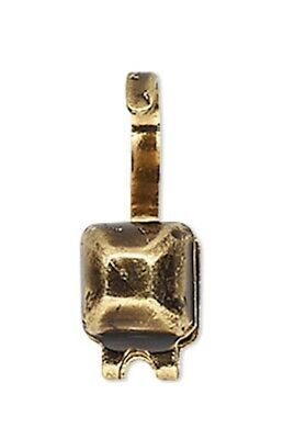100 Antiqued Gold Plated  Brass 9x5mm Square Bead Tips to Hide Knots