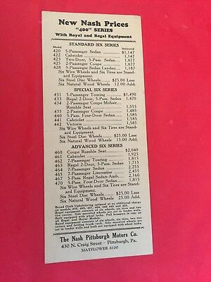 "x. c.1929 Nash ""400 Series Royal & Regal Equipment"" New Car Dealer Price List"