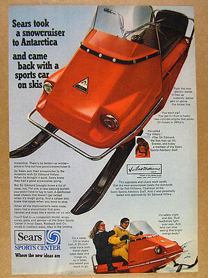 1968 Sears Hillary Snowcruiser Snowmobile color photo vintage print Ad