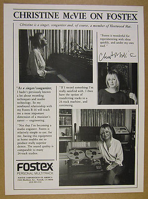 1986 Christine McVie home studio photo Fostex B-16 Multitrack vintage print Ad