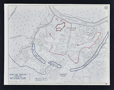 West Point Civil War Map Union Siege of Fort Donelson Feb 14-15 Night Investment