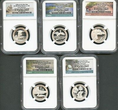2018 S Silver Quarter Set From 10-Coin SILVER Set FR NGC PF70 Ultra Cameo