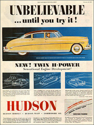 1952 Classic Car AD HUDSON HORNET 4 dr Sedan yellow NICE! 041017