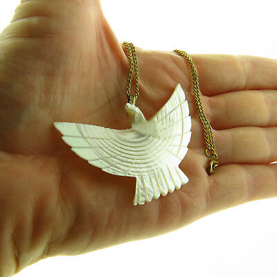 MOP Mother of Pearl Shell Eagle Bird Pendant Necklace