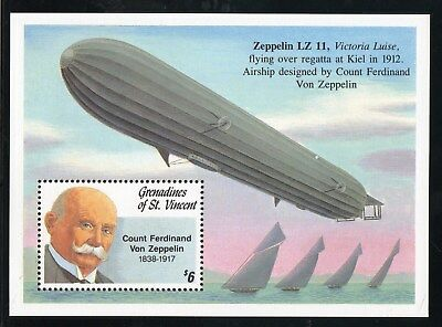 1992 Grenadines of St Vincent - 75th Anniversary of death of Zeppelin SG MS906c