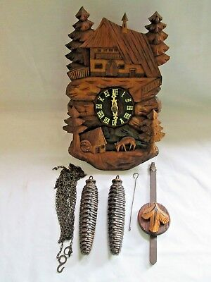 DRGM VINTAGE CUCKOO BLACK FOREST ? WALL / mantle CLOCK ,SPARES / REPAIR PROJECT