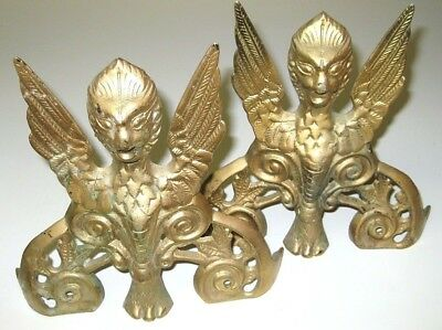 Lot of 2 Antique Vintage Solid Brass Gargoyle Furniture Door Wall Plaques Statue