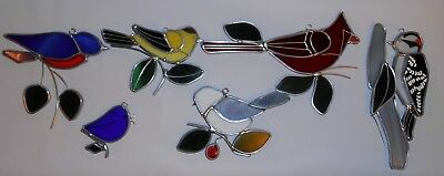 Vintage Hand Made Stained Glass Art Suncatcher Birds Lot Of 6