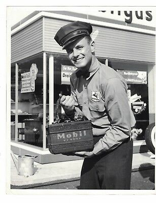 Vintage 1950's/60's Smiling Mobil Gas Station Attendant Used Advertising Photo