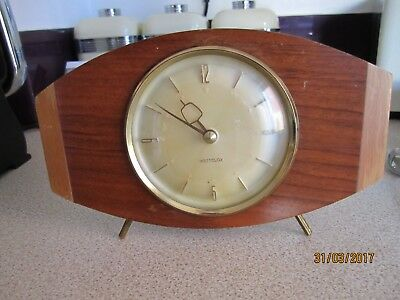 Lovey Retro,westclox ,teak Mantel Clock,working Order,self Wind,23 Cm Wide