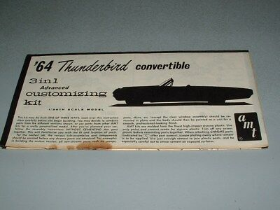 1/25 AMT 1964 Thunderbird, 3 in 1 customizing kit ~ORIGINAL INSTRUCTIONS ONLY~