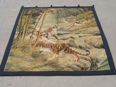 Antique Japanese Silk Embroidery Tapestry Wall Hanging Tigers Jungle River 48x63