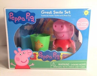 ~NEW Girls PEPPA PIG Great Smile Set! Toothbrush Holder, Toothbrush & Rinse Cup~