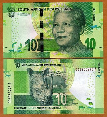 South Africa, 10 rand, ND (2015), P-138-NEW, Sign. Kganyago UNC > Mandela, Rhino