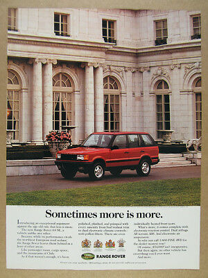 1995 Range Rover 4.0 SE photo 'Sometimes more is more.' vintage print Ad