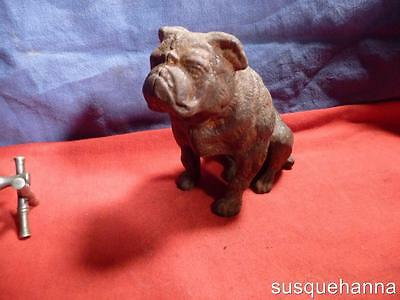 Antique Hubley Bulldog Pit Bull Cast Iron Still Bank circa 1920 vintage dog art