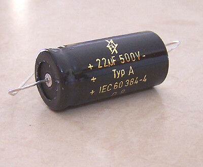 F&T 22uf 500 Volt Electrolytic Capacitor