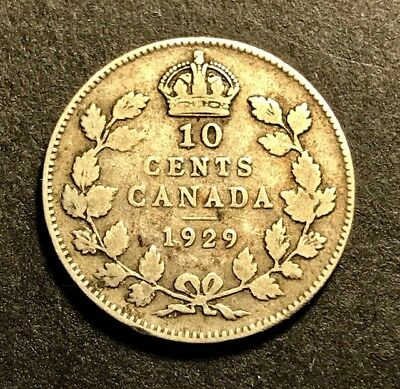 CANADA - George V - Silver 10 Cents - 1929 - FREE SHIPPING!