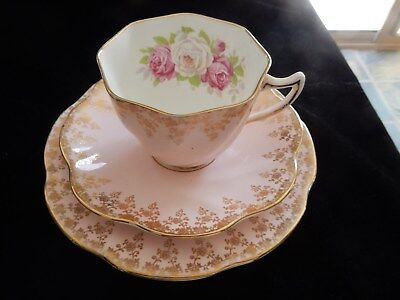 Vintage Rosina Pink & Gold Cup, Saucer & Plate Trio Bone China Made in England