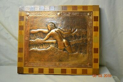 """Nude Female """"Sea Nymph"""" Chasing in Oxidized Copper by William Rittenhouse 1954"""