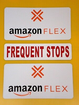 2  AMAZON FLEX  6X12 & 1 FREQUENT STOPS 3X12  100% Magnetic CAR VEHICLE SIGNS