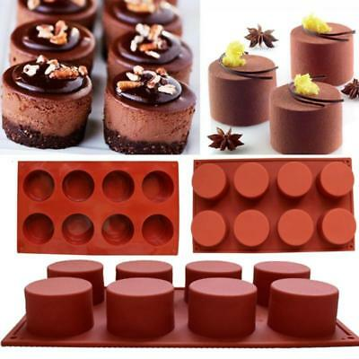 Hot! 8 Cavity Silicone Muffin Pudding Mould Bakeware Round Mold Baking Tray Pan