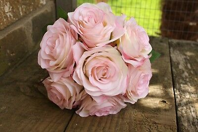 7 x VINTAGE SHADED IVORY & PALE PINK SILK ROSES 7cm TIED BUNCH / SMALL BOUQUET