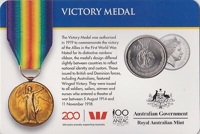 2017 Australian Victory Medal  20 cent carded coin UNC