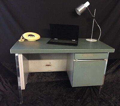 Vintage 1960's 70's French Industrial Metal Desk Good Size
