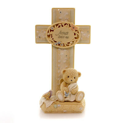 Foundations JESUS LOVES ME CROSS Polyresin Angel Teddy Bear 4036746