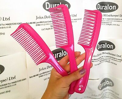 Hot Pink Double Tooth Detangle Comb With Handle Comb For Curly Hair Wavy Tooth