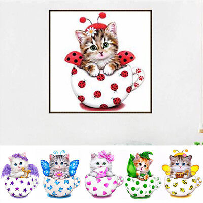 Cute Cats 5D Diamond Painting DIY Embroidery Cross Stitch Kit Home Decor AU