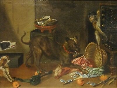 17th Century Dutch Old Master Dogs Monkey Kitchen Interior Antique Oil Painting