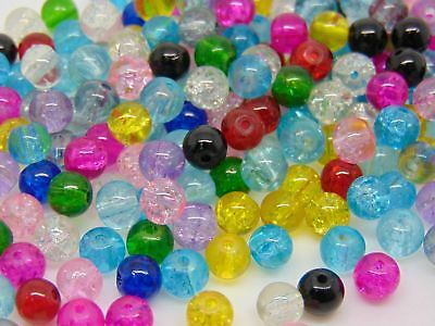 Mix Colour Round Glass Crackle Beads ( 400 - 4mm ) ( 200 - 6mm ) (100 - 8mm )