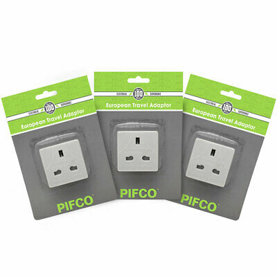 3x Pifco Mains Adapter UK 3Pin TO EU Europe 2 Pin European Travel Adapter Plug