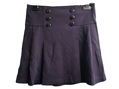 NEW GIRLS EX STORE NAVY JERSEY A LINE 6 BUTTON SCHOOL SKIRT AGE 10-12 years (O)