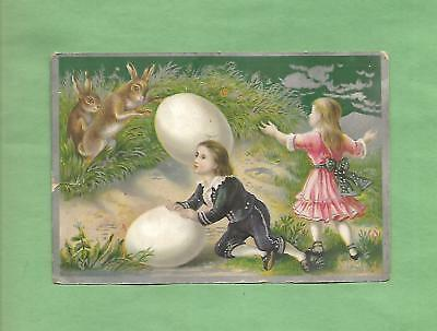 CHILDREN, BUNNIES, EASTER EGGS On Colorful JERSEY COFFEE Victorian Trade Card