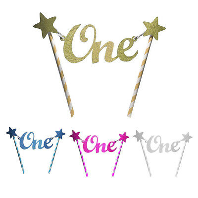 Glitter Star One 1st Happy Birthday Cake Topper Bunting Banner Party Decor DIY