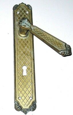 Antique Vintage Ornate Solid BRASS Passage / Closet Door Handle with Backplate