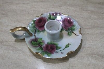 """Uncommon M G ALLEN Hand Painted Porcelain Hand Candlestick """"Roses"""""""