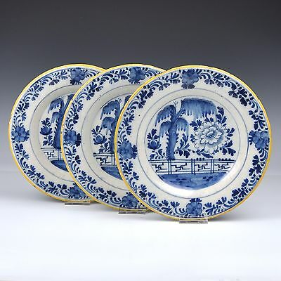 "A Set Of Three Delft Blue And White 18th Century Plates ""Chinese Garden"""