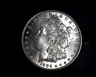 1886-p Blast White Unc Morgan Silver Dollar from a fresh Roll Will Grade Out