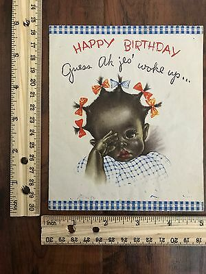 1940s Black African American Greeting Card Happy Birthday Baby Waking Up~113855