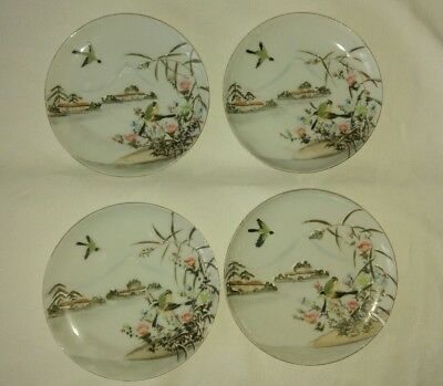 Vintage/Antique 4 Japanese Plates Hand painted Ornamental Chinese Tea Bone China