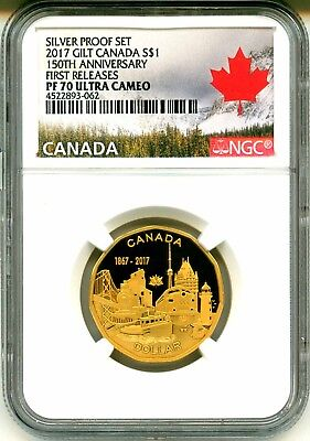 2017 Canada S$1 Silver Proof Set Gilt 150th Anniversary FR NGC PF70 Ultra Cameo