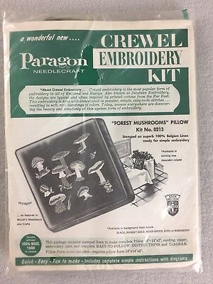 Vintage Paragon Forest Mushrooms Crewel Embroidery Pillow Kit 0213 Green 14x14x2