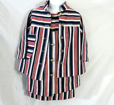 Sears Pooh Collection Size 4 Girls Top Skirt & Coat Vintage 1960s Red White Blue