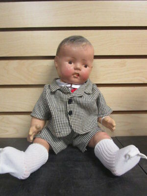 Antique VINTAGE Composition Boy Doll in Suit TOO CUTE